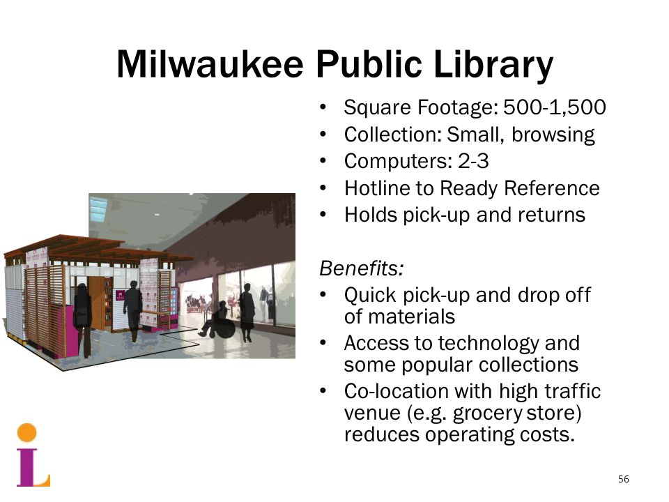 Milwaukee Public Library Square Footage: 500-1,500 Collection: Small, browsing Computers: 2-3 Hotline to Ready Reference Holds pick-up and returns Benefits: Quick pick-up and drop off of materials Access to technology and some popular collections Co-location with high traffic venue (e.g.