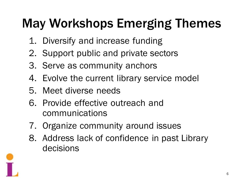 May Workshops Emerging Themes 1.Diversify and increase funding 2.Support public and private sectors 3.Serve as community anchors 4.Evolve the current library service model 5.Meet diverse needs 6.Provide effective outreach and communications 7.Organize community around issues 8.Address lack of confidence in past Library decisions 6
