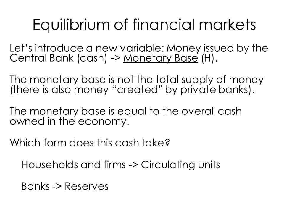 Let's introduce a new variable: Money issued by the Central Bank (cash) -> Monetary Base (H).