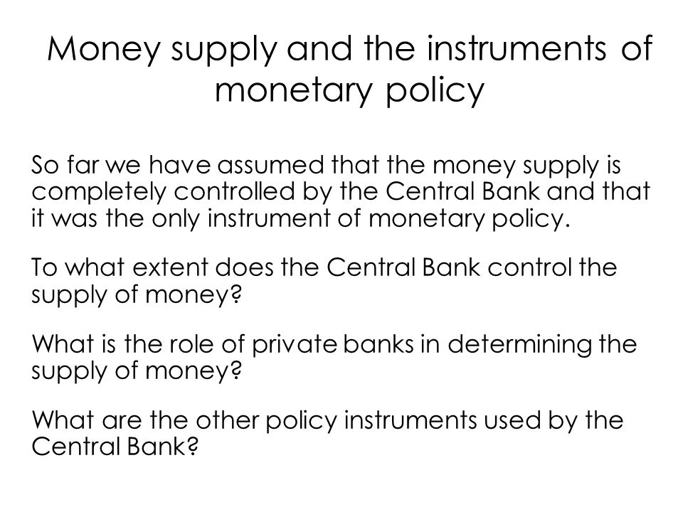b) Firm and household behaviour Demand of money M D Demand of circulating units Demand of deposits CU D = cM D D D = (1-c)M D with 0 < c < 1 c) Bank behaviour Demand of reserve -> fraction of deposits R D = rD D with 0< r  <1 Equilibrium of financial markets