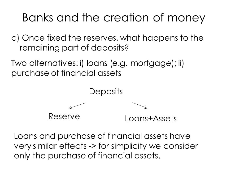 c) Once fixed the reserves, what happens to the remaining part of deposits.