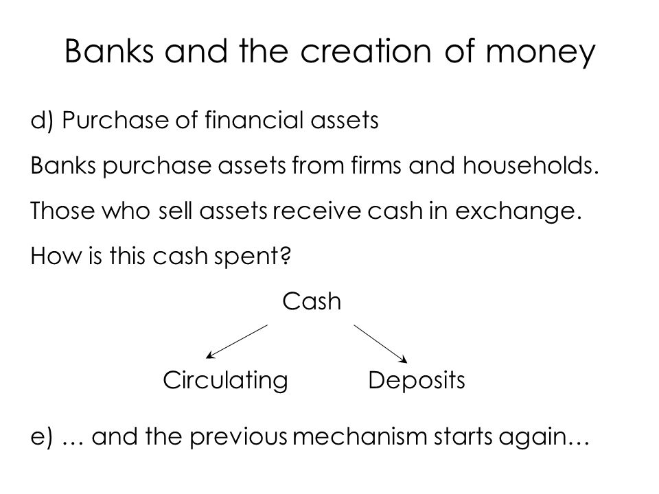 In conclusion we have: Cash k Circulating Deposits Reserves Assets Cash Circulating Deposits and so on… Banks and the creation of money