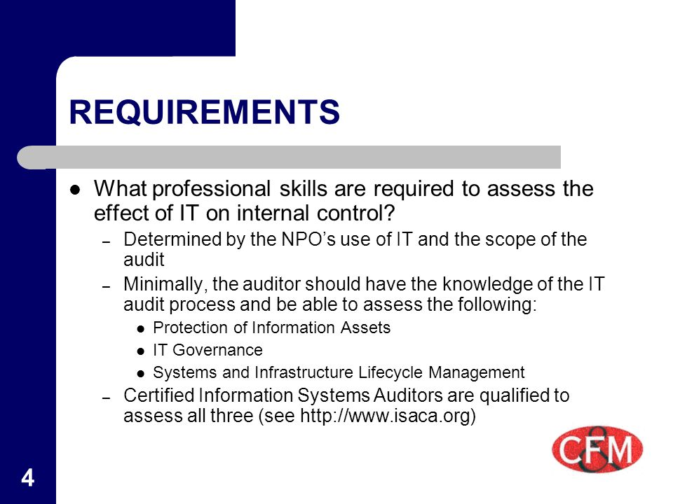 4 REQUIREMENTS What professional skills are required to assess the effect of IT on internal control.