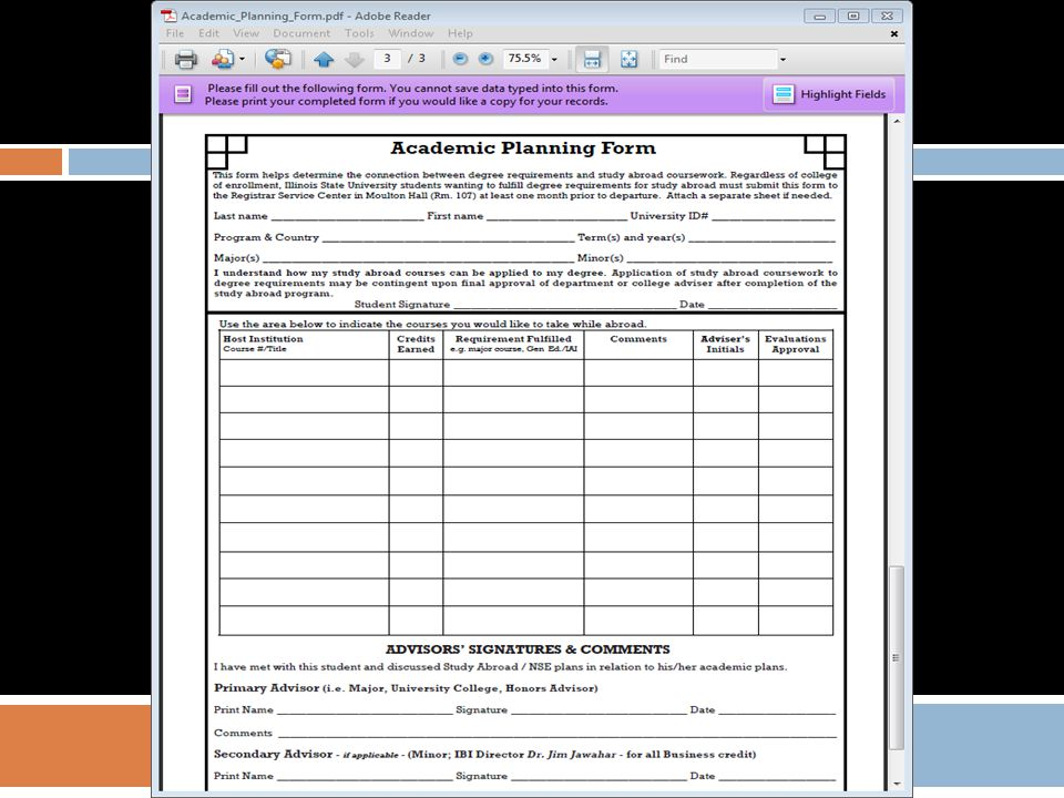 Fill out course title and course number here: Write which requirement is fulfilled: major/minor/ Gen Ed or elective credit Credits earned here All personal info goes here: Major/minor advisor must sign here: