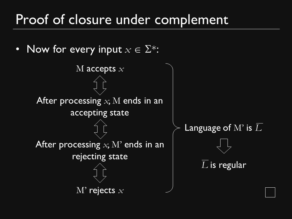 Proof of closure under complement Now for every input x   * : M accepts x After processing x, M ends in an accepting state After processing x, M' ends in an rejecting state M' rejects x Language of M' is L L is regular