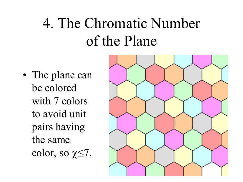 4. The Chromatic Number of the Plane The plane can be colored with 7 colors to avoid unit pairs having the same color, so  ≤7.