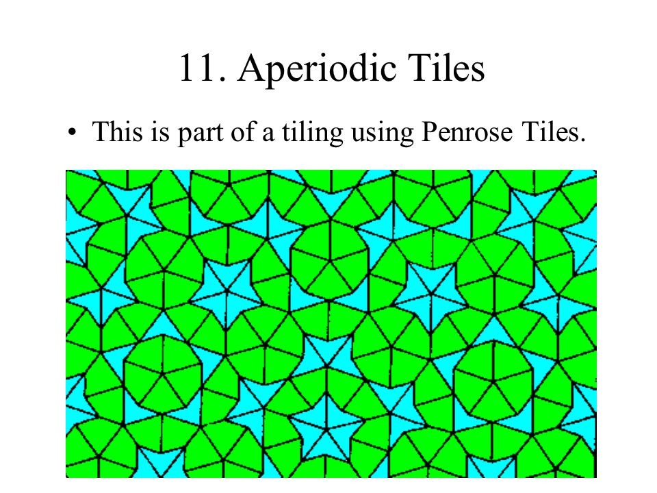 11. Aperiodic Tiles This is part of a tiling using Penrose Tiles.