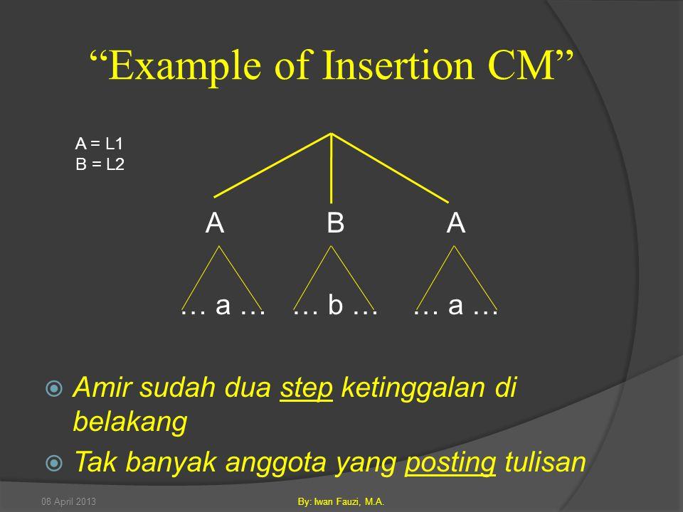 A B A … a … … b … … a …  Amir sudah dua step ketinggalan di belakang  Tak banyak anggota yang posting tulisan Example of Insertion CM A = L1 B = L2 08 April 2013By: Iwan Fauzi, M.A.
