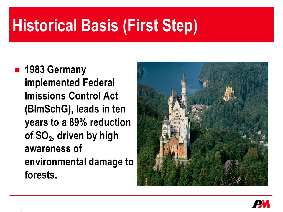 7 Historical Basis (First Step) 1983 Germany implemented Federal Imissions Control Act (BImSchG), leads in ten years to a 89% reduction of SO 2, driven by high awareness of environmental damage to forests.