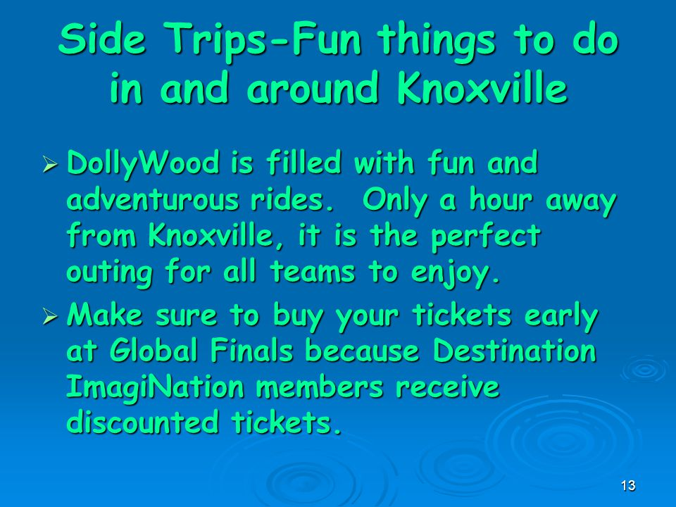 13 Side Trips-Fun things to do in and around Knoxville  DollyWood is filled with fun and adventurous rides.