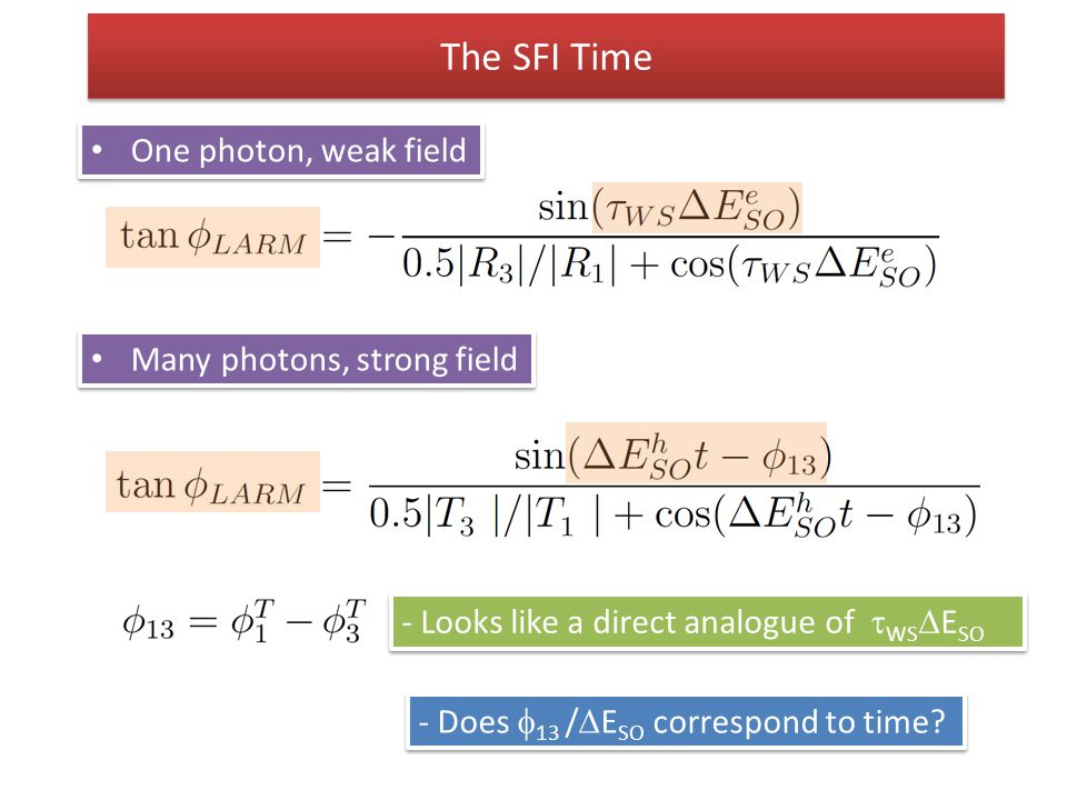 The SFI Time One photon, weak field Many photons, strong field - Looks like a direct analogue of  WS  E SO - Does  13 /  E SO correspond to time?