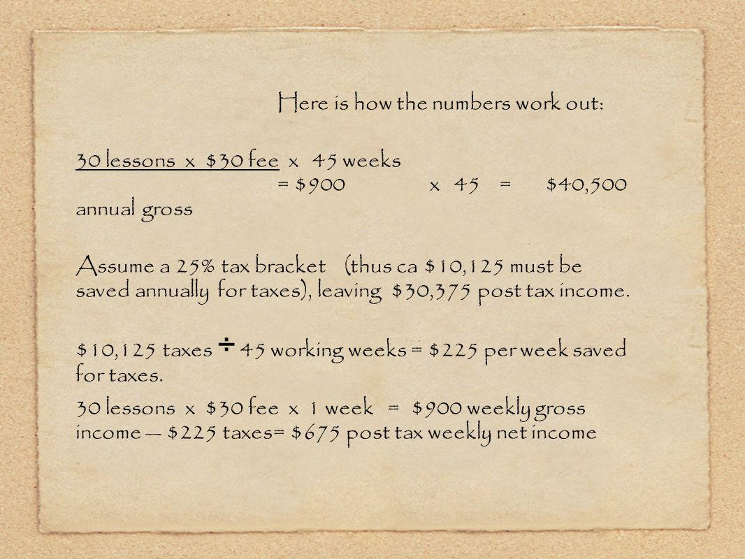 Here is how the numbers work out: 30 lessons x $30 fee x 45 weeks = $900 x 45 = $40,500 annual gross Assume a 25% tax bracket(thus ca $10,125 must be saved annually for taxes), leaving $30,375 post tax income.