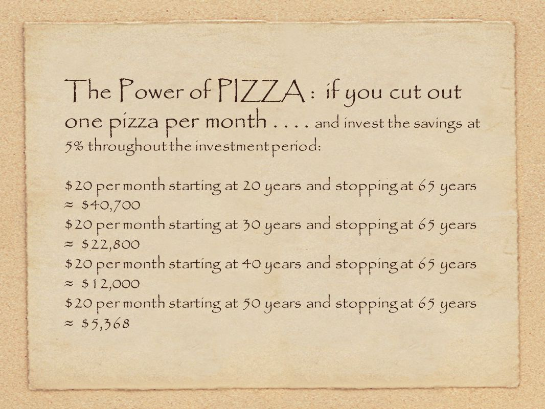 The Power of PIZZA : if you cut out one pizza per month....