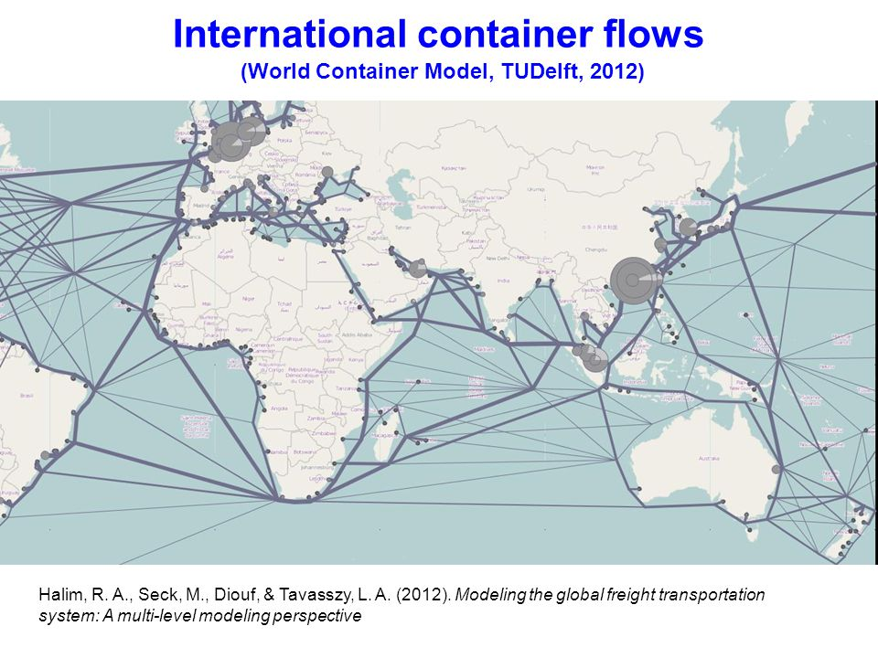International container flows (World Container Model, TUDelft, 2012) Halim, R.