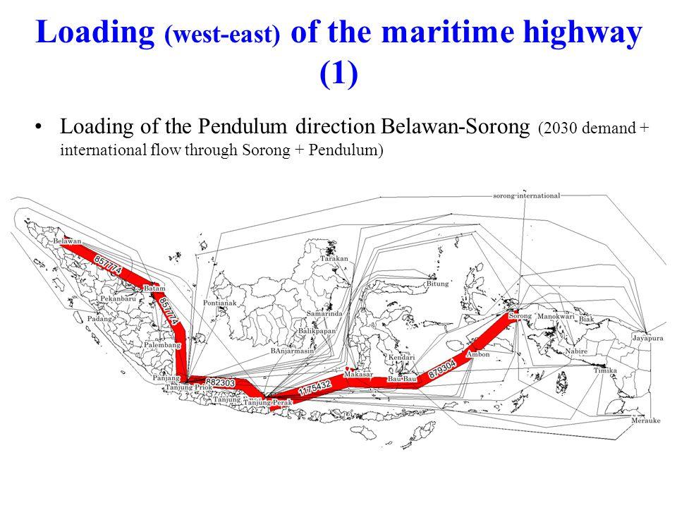 Loading of the Pendulum direction Belawan-Sorong (2030 demand + international flow through Sorong + Pendulum) Loading (west-east) of the maritime highway (1)