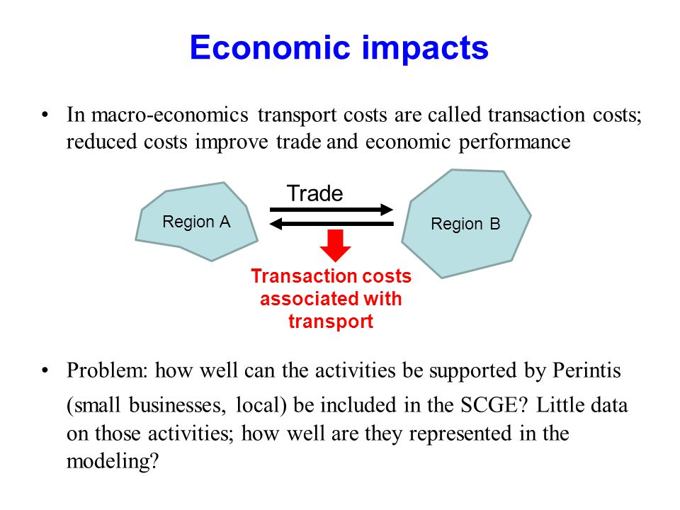 Economic impacts In macro-economics transport costs are called transaction costs; reduced costs improve trade and economic performance Problem: how well can the activities be supported by Perintis (small businesses, local) be included in the SCGE.