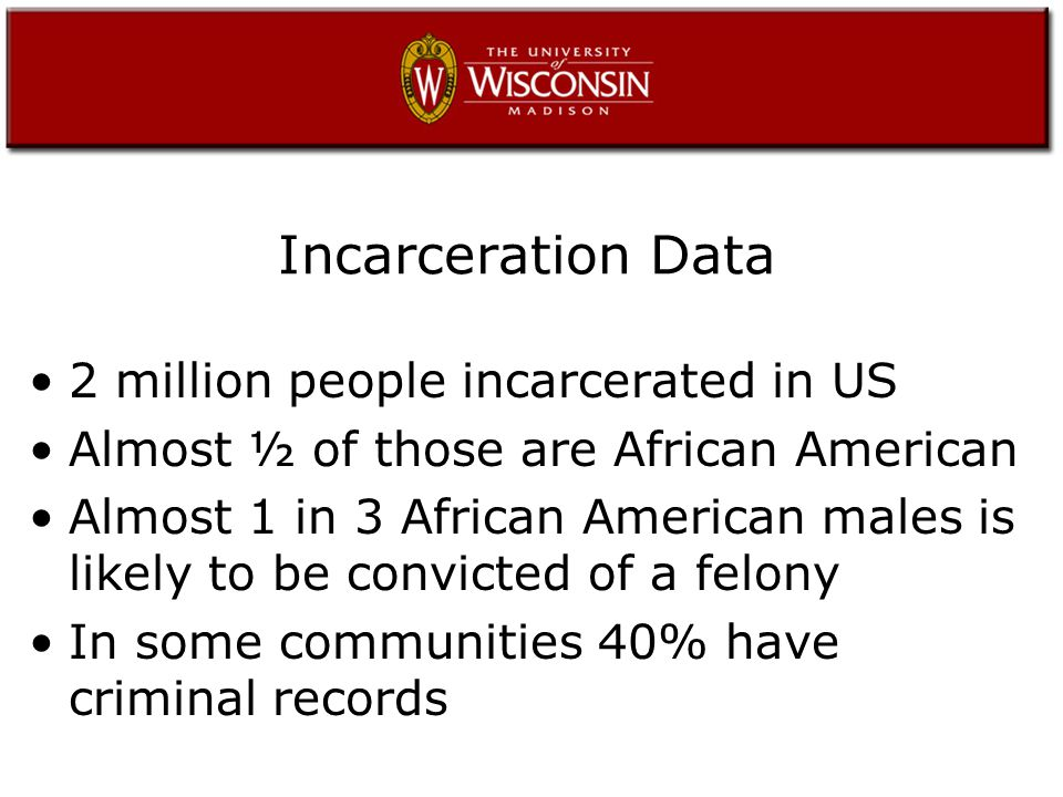 Incarceration Data 2 million people incarcerated in US Almost ½ of those are African American Almost 1 in 3 African American males is likely to be convicted of a felony In some communities 40% have criminal records