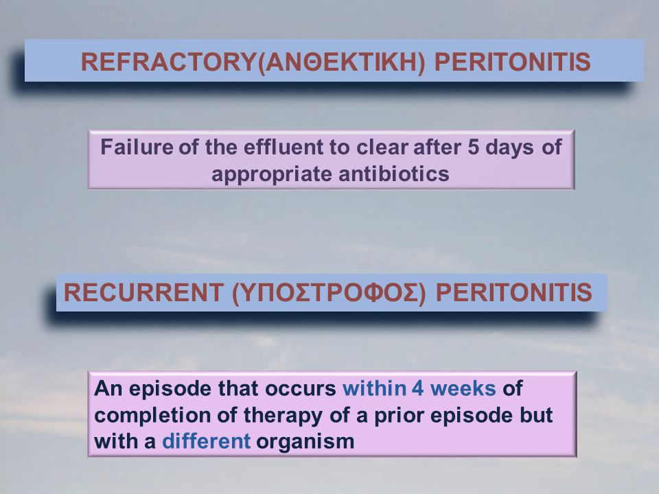 REFRACTORY(ANΘΕΚΤΙΚΗ) PERITONITIS Failure of the effluent to clear after 5 days of appropriate antibiotics RECURRENT (YΠΟΣΤΡΟΦΟΣ) PERITONITIS Αn episo