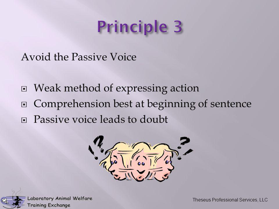 Avoid the Passive Voice  Weak method of expressing action  Comprehension best at beginning of sentence  Passive voice leads to doubt Theseus Professional Services, LLC