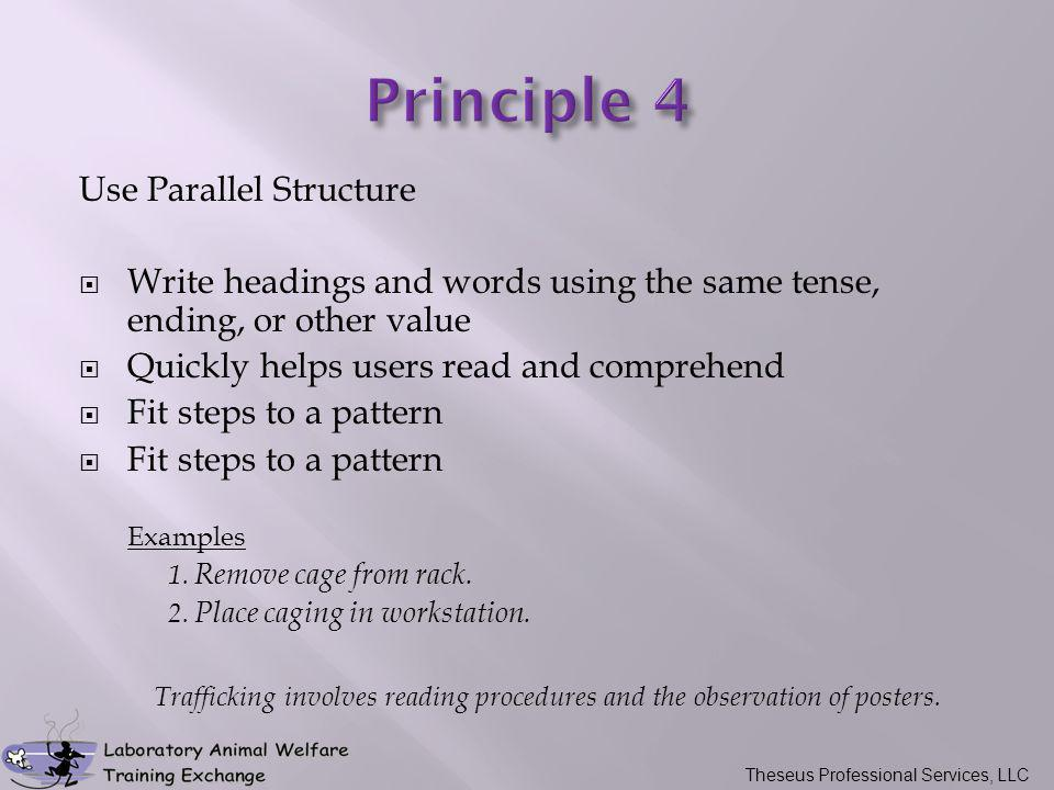 Use Parallel Structure  Write headings and words using the same tense, ending, or other value  Quickly helps users read and comprehend  Fit steps t