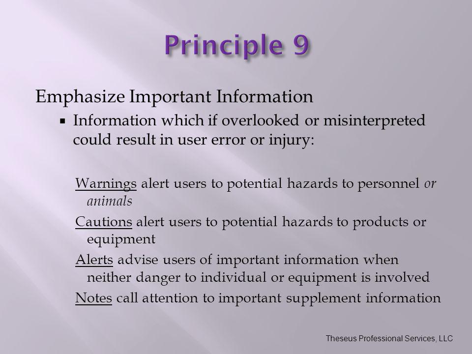 Emphasize Important Information  Information which if overlooked or misinterpreted could result in user error or injury: Warnings alert users to potential hazards to personnel or animals Cautions alert users to potential hazards to products or equipment Alerts advise users of important information when neither danger to individual or equipment is involved Notes call attention to important supplement information Theseus Professional Services, LLC