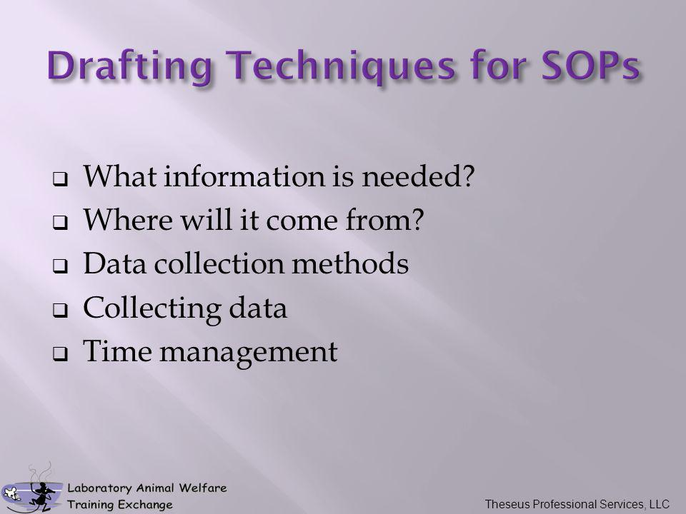  What information is needed?  Where will it come from?  Data collection methods  Collecting data  Time management Theseus Professional Services,