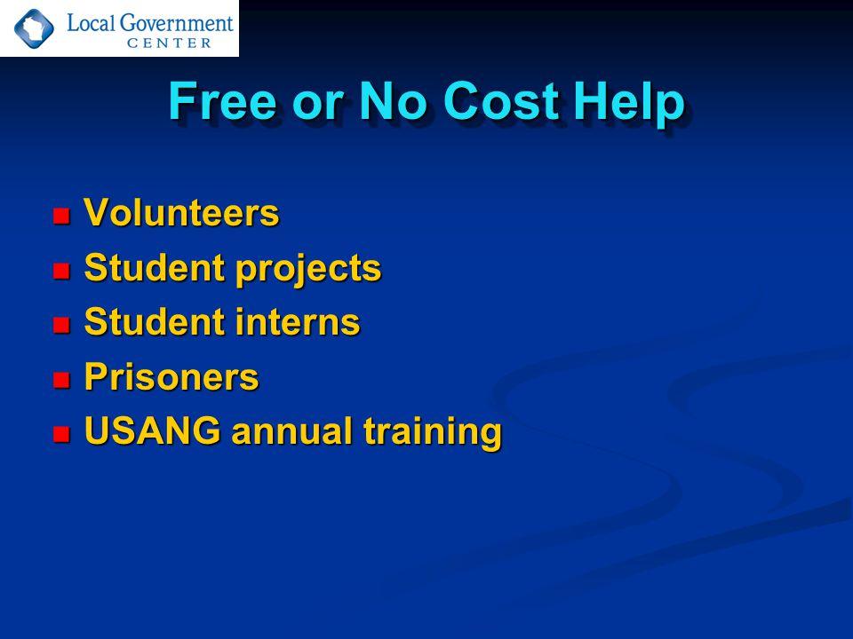 Free or No Cost Help Volunteers Volunteers Student projects Student projects Student interns Student interns Prisoners Prisoners USANG annual training