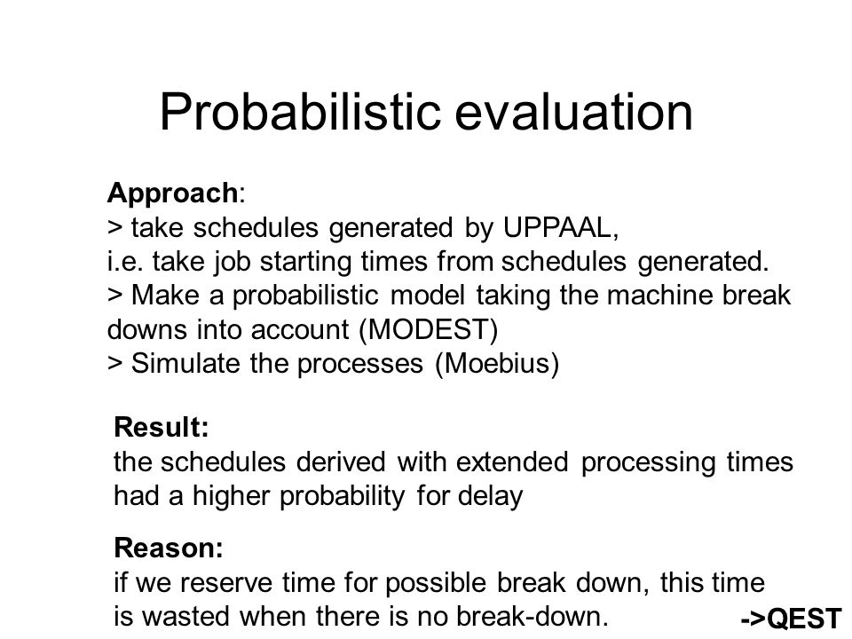 Generating schedules taking probabilism into account Basic scheduling questions: 1)Long term scheduling: how many orders can be treated.