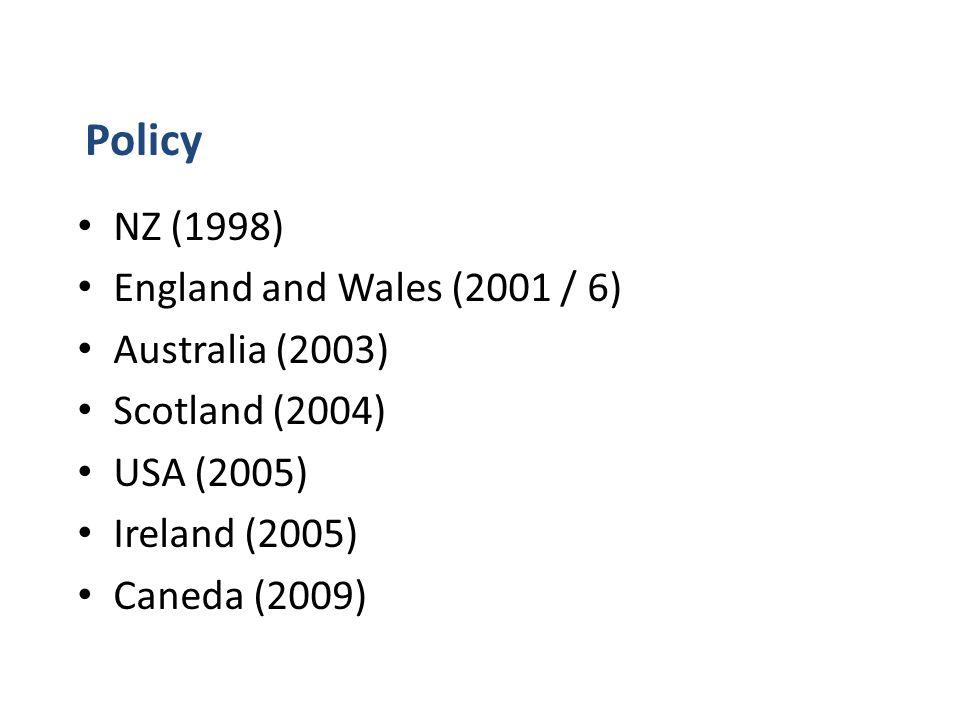 NZ (1998) England and Wales (2001 / 6) Australia (2003) Scotland (2004) USA (2005) Ireland (2005) Caneda (2009) Policy