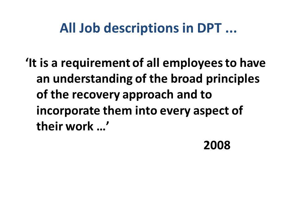 All Job descriptions in DPT...