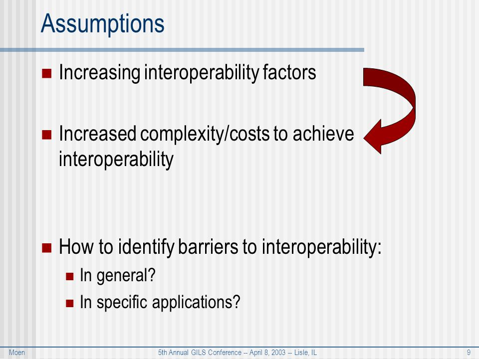 Moen 5th Annual GILS Conference -- April 8, 2003 -- Lisle, IL 9 Assumptions Increasing interoperability factors Increased complexity/costs to achieve interoperability How to identify barriers to interoperability: In general.