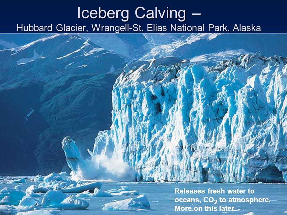 Iceberg Calving – Hubbard Glacier, Wrangell-St. Elias National Park, Alaska Releases fresh water to oceans, CO 2 to atmosphere. More on this later.