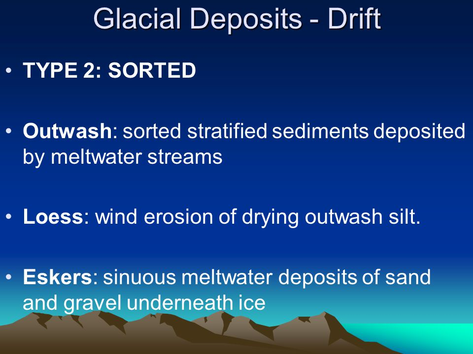 Glacial Deposits - Drift TYPE 2: SORTED Outwash: sorted stratified sediments deposited by meltwater streams Loess: wind erosion of drying outwash silt