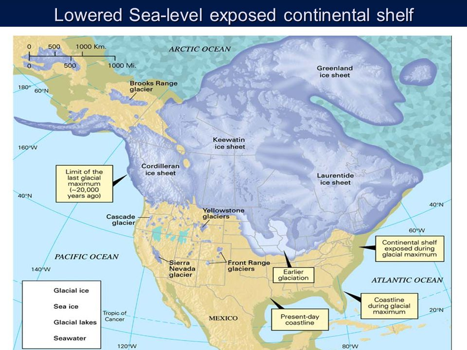 Lowered Sea-level exposed continental shelf