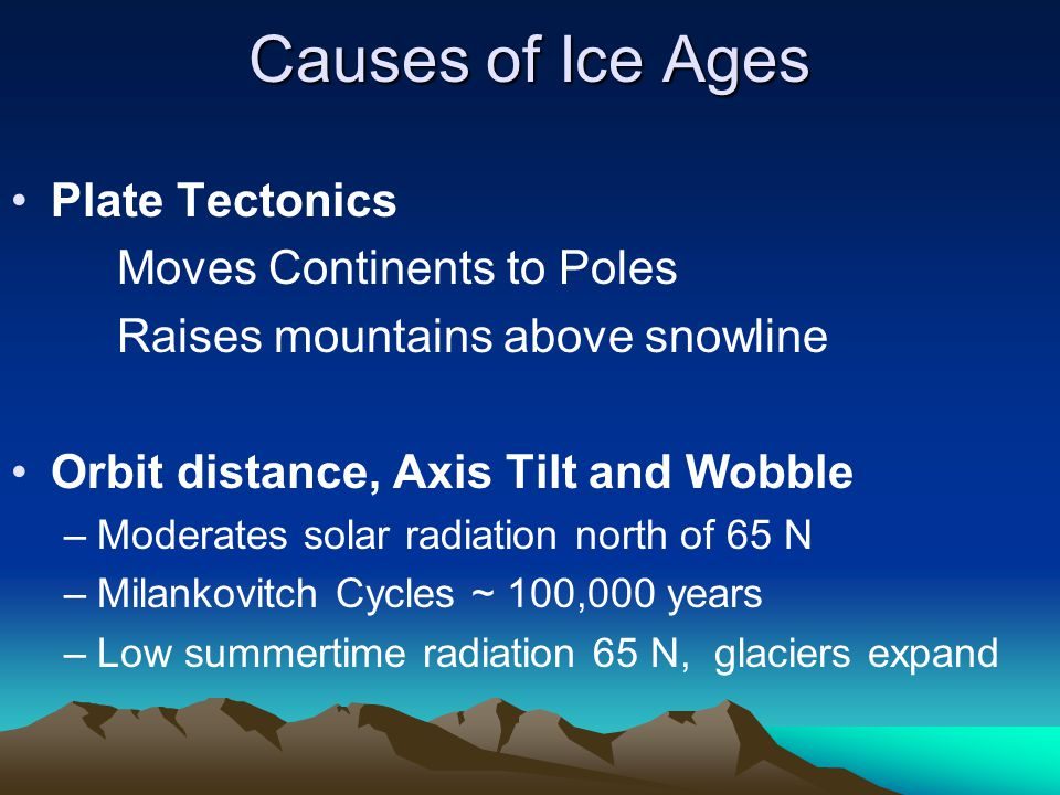 Causes of Ice Ages Plate Tectonics Moves Continents to Poles Raises mountains above snowline Orbit distance, Axis Tilt and Wobble –Moderates solar rad