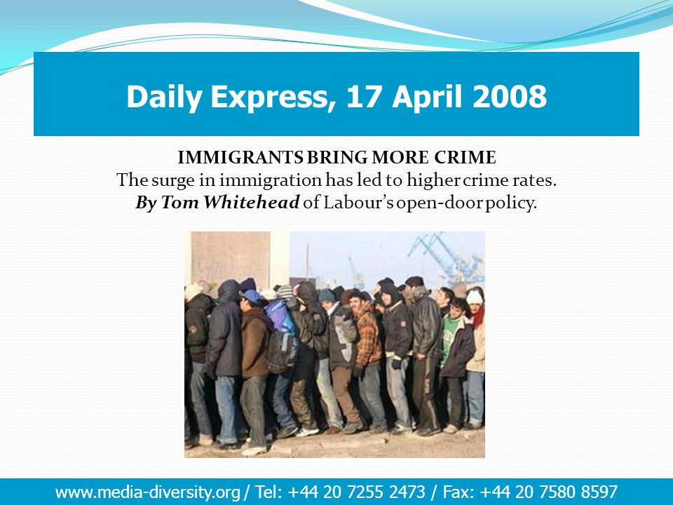 www.media-diversity.org / Tel: +44 20 7255 2473 / Fax: +44 20 7580 8597 Ethnic Minorities Race is regarded amongst the 5 most important issues in the UK today (Others - Crime, Education, Race, Education, Defence) – BBC Audience Research 2004.