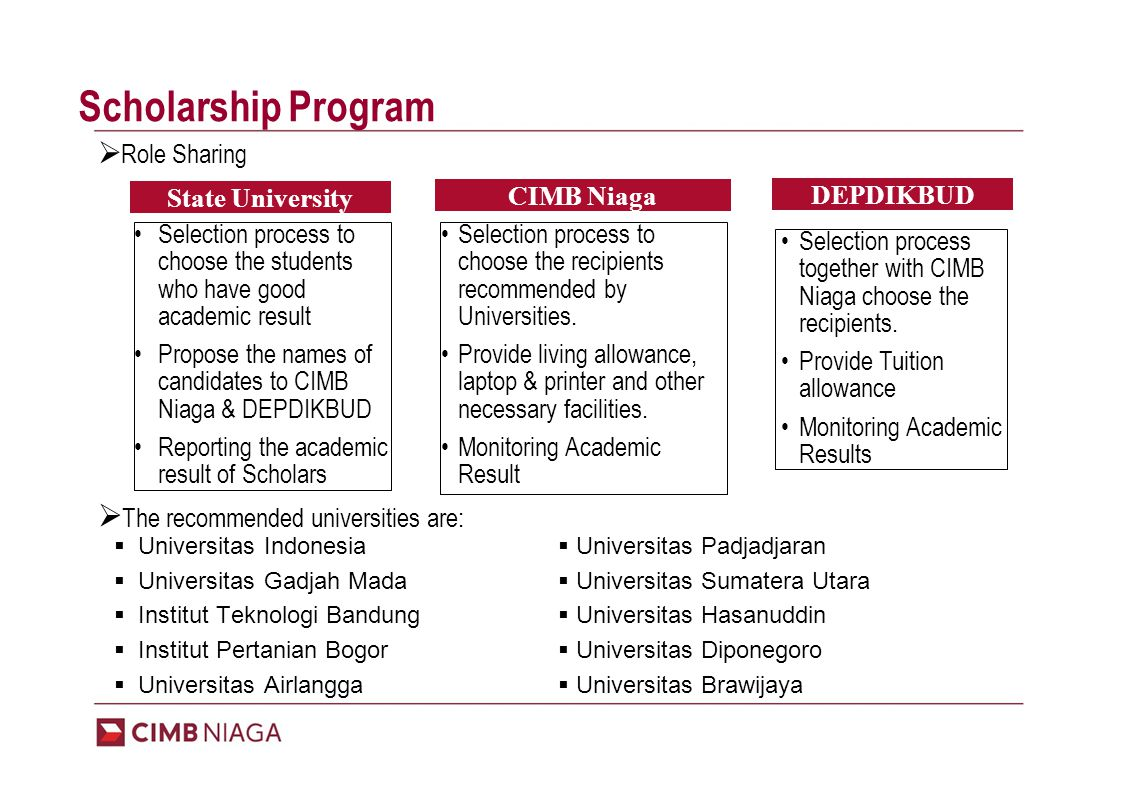 Selection process to choose the recipients recommended by Universities.