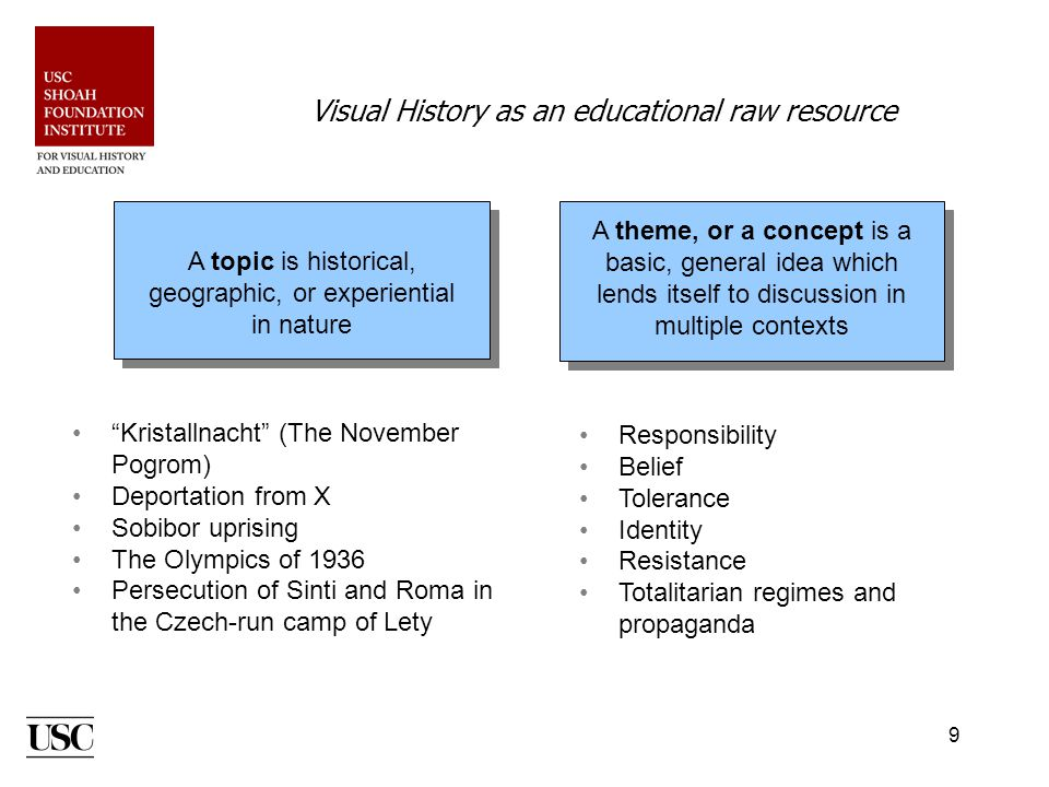 9 Visual History as an educational raw resource A topic is historical, geographic, or experiential in nature A theme, or a concept is a basic, general idea which lends itself to discussion in multiple contexts Kristallnacht (The November Pogrom) Deportation from X Sobibor uprising The Olympics of 1936 Persecution of Sinti and Roma in the Czech-run camp of Lety Responsibility Belief Tolerance Identity Resistance Totalitarian regimes and propaganda