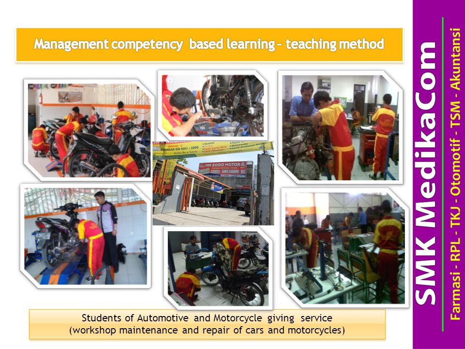 Students of Automotive and Motorcycle giving service (workshop maintenance and repair of cars and motorcycles) Students of Automotive and Motorcycle giving service (workshop maintenance and repair of cars and motorcycles)