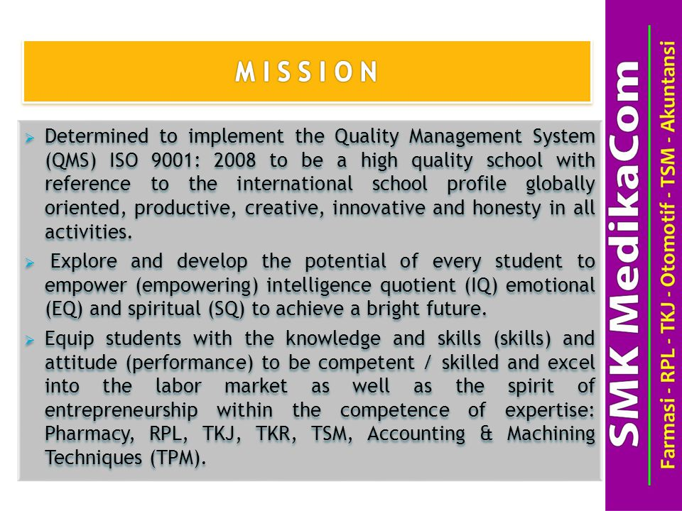  Determined to implement the Quality Management System (QMS) ISO 9001: 2008 to be a high quality school with reference to the international school profile globally oriented, productive, creative, innovative and honesty in all activities.