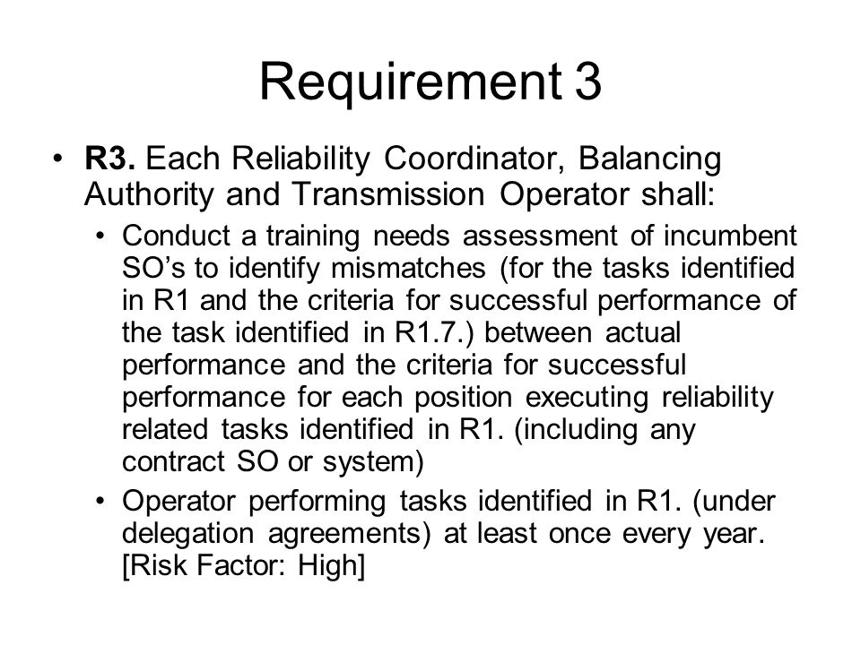 Requirement 3 R3.