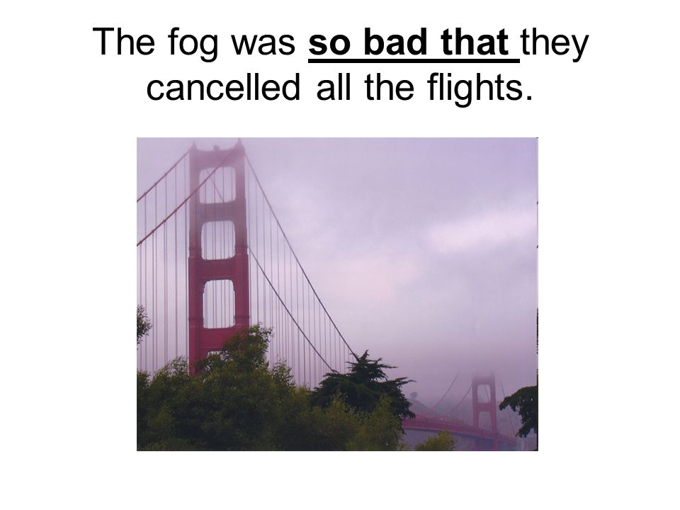 The fog was so bad that they cancelled all the flights.