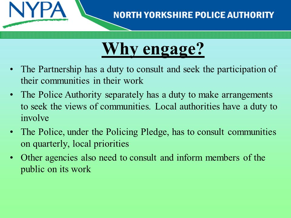 Community Engagement Not just consultation – much more than that Its about how institutions which are owned by the public behave towards the public Honour, integrity, responsibility, humility, service Explain...