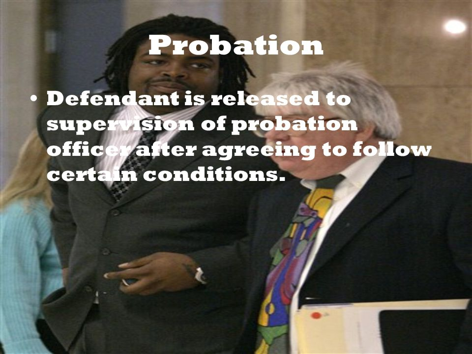 Probation Defendant is released to supervision of probation officer after agreeing to follow certain conditions.