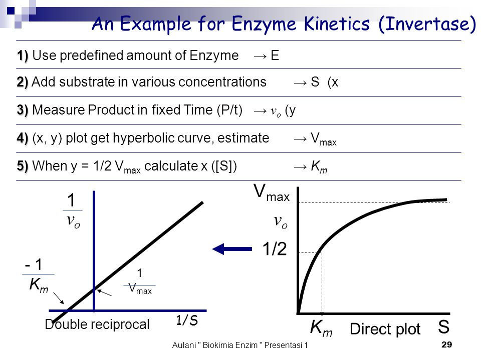 Aulani Biokimia Enzim Presentasi 1 29 An Example for Enzyme Kinetics (Invertase) V max KmKm S vovo 1/S 1vo1vo Double reciprocal Direct plot 1) 1) Use predefined amount of Enzyme → E 2) 2) Add substrate in various concentrations→ S (x 3) 3) Measure Product in fixed Time (P/t)→ v o (y 4) 4) (x, y) plot get hyperbolic curve, estimate→ V max 5) 5) When y = 1/2 V max calculate x ([S]) → K m 1 V max - 1 K m 1/2