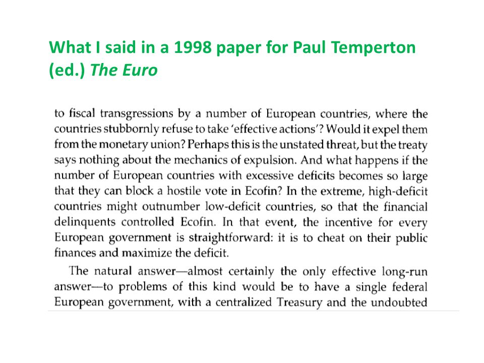 Arguments against viability of monetary union without political union 2.