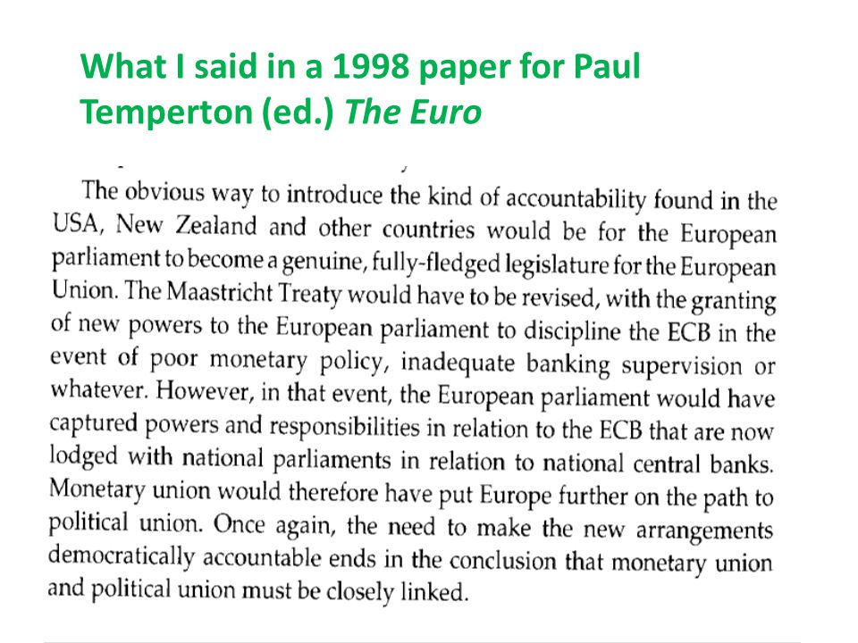 Arguments against viability of monetary union without political union 3.