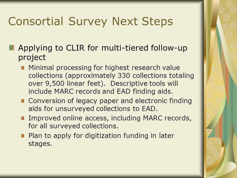 Consortial Survey Next Steps Applying to CLIR for multi-tiered follow-up project Minimal processing for highest research value collections (approximat
