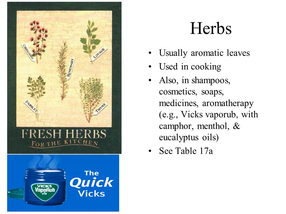 Herbs Usually aromatic leaves Used in cooking Also, in shampoos, cosmetics, soaps, medicines, aromatherapy (e.g., Vicks vaporub, with camphor, menthol