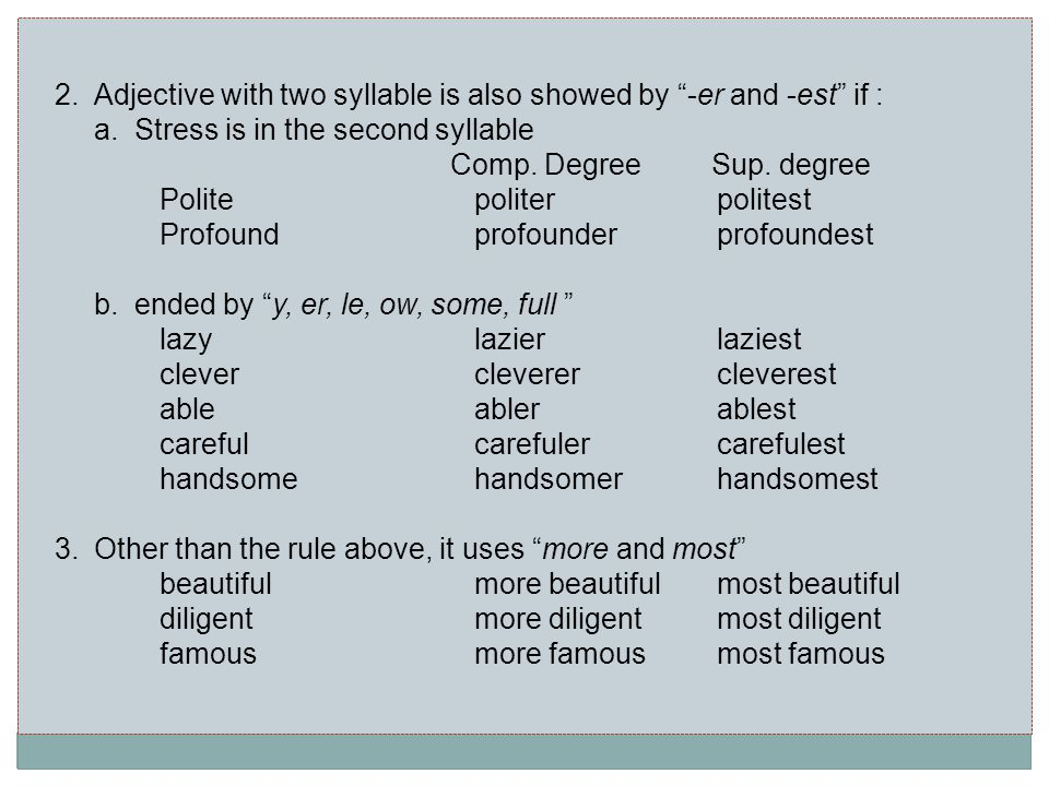 2.Adjective with two syllable is also showed by -er and -est if : a.